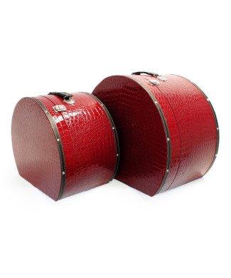 Hutkoffer Set Kroko Rot