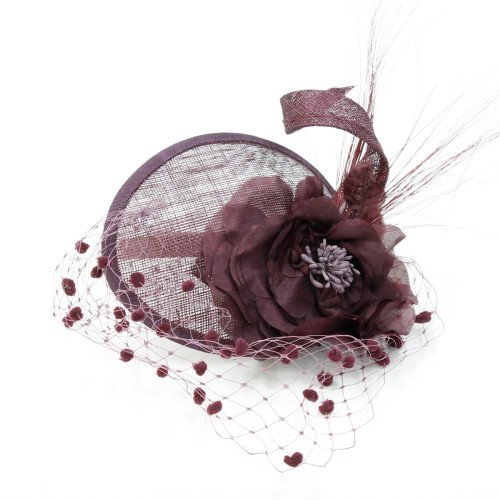 Fascinator Rose Bordeaux