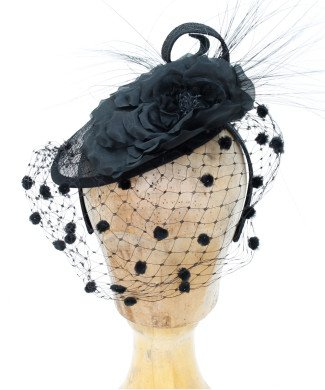 Fascinator Rose Schwarz