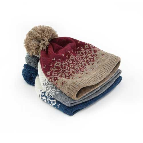 Strickmütze Pompom mit Fleece
