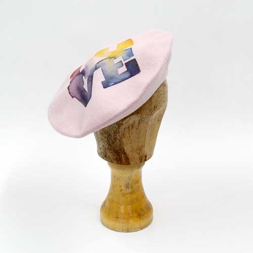 Baskenmütze Wolle mit Print - Rosa